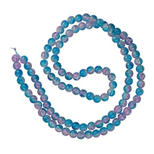 Homyl 8mm Gorgeous Crackle Lampwork Glass Round Beads 1.3mm Hole, for Handmade Earring Hair Jewelry, DIY Charms, Necklace, Bracelet, Anklets, Beaded Case, Making Crafts - aqua lavender