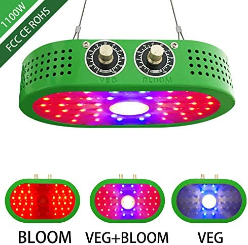 Large Indoor Plant Light,1100W LED Grow Lights with Adjustable Spectrum and Light Intensity, Dual Chips Full Spectrum Greenhouse Growing Lamps for Hydroponic Indoor Plants Veg and Flower