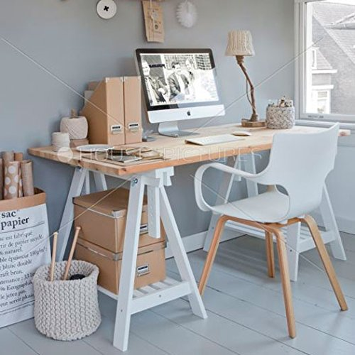 Set Of 2 Durable Solid Wood Trestle Legs With Additional Shelf For Table ,  Desk , Workstation Or Drawing Table, Height And Angle Adjustable , White:  ...