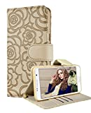 Galaxy S6 Edge Plus Wallet Case, FLYEE Premium Vintage Emboss Flower Flip Wallet Shell PU Leather Magnetic Cover Skin with Detachable Wrist Strap Case for Samsung Galaxy S6 Edge Plus (Beige)