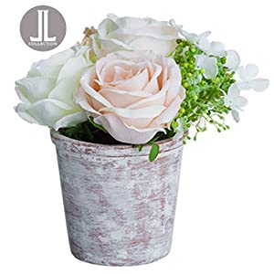 "8"" Rose, Ranunculus & Snowball Silk Flower Arrangement -Cream/Blush (Pack of 6) 44"