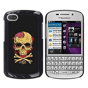 Be Good Phone Accessory // Dura Cáscara cubierta Protectora Caso Carcasa Funda de Protección para BlackBerry Q10 // Skull Brains Yellow Black Crossbones