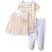 Nannette Baby Boys' 3 Piece Layette Set with Cardigan Creeper and Pant, Blue, 0-3M