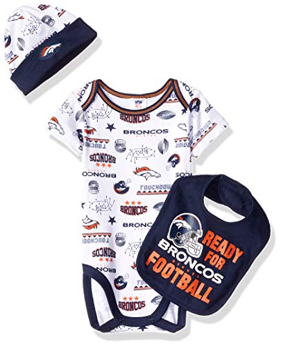NFL Denver Broncos Unisex-Baby Bodysuit, Bib & Cap Set, Blue, 3-6 Months