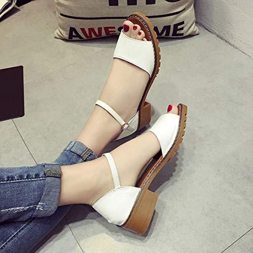 Peep de Zapatos del Tobillo Toes Las Tacones Sandalias de Zapatos Bombas Heels Correa Verano Gruesos Zapatos de Gruesos Low Tacones se Zapatos Elegantes de ora de Mujeres qXdXwp