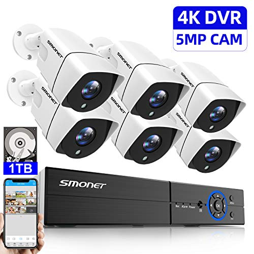 5MP Home Security Camera System,SMONET 8 Channel Surveillance DVR Recorder(1TB Hard Drive) with 6pcs Weatherproof IP66 Bullet CCTV Cameras,Super Night Vision,Easy Remote Access on Phone/PC,Free APP