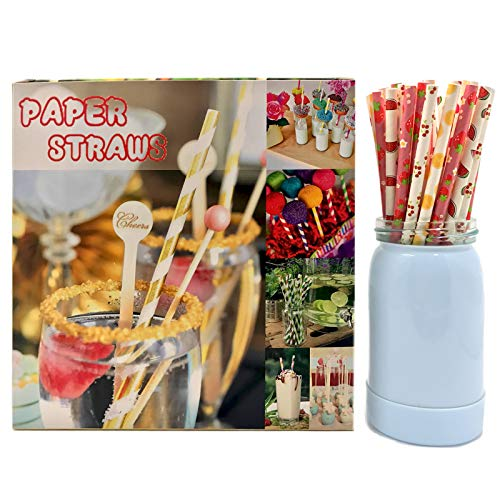 300 Pack Paper Straws - 6 Pattern Strawberry Cherry Love Lemon Watermelon Flag Kids Biodegradable Drinking Straws for Juices Shakes Smoothies Birthday Wedding Christmas Party Decoration
