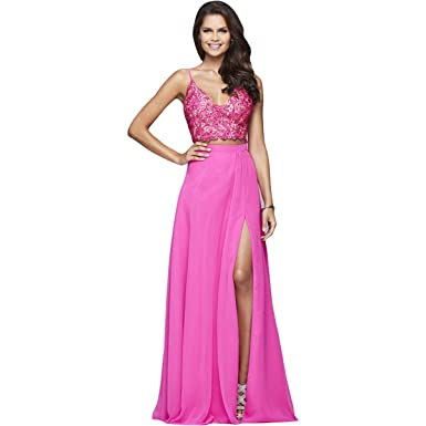 5ac9a4a18a23 Image Unavailable. Image not available for. Color  Faviana Womens Lace Prom  Crop Top Dress Pink 00