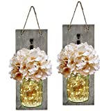 Rustic Mason Jar Wall Decor Sconces - Decorative Home Lighted Country House Hanging with LED Fairy Strip Lights and Flowers Hydrangea Farmhouse Sconce Jars (Set of 2)