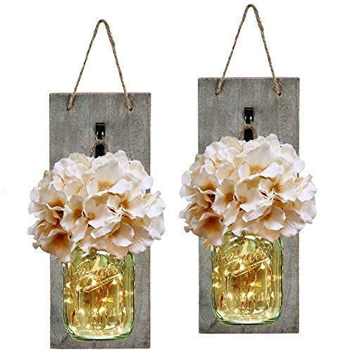 HABOM Rustic Mason Jar Wall Decor Sconces – Decorative Home Lighted Country House Hanging with LED Fairy Strip Lights…