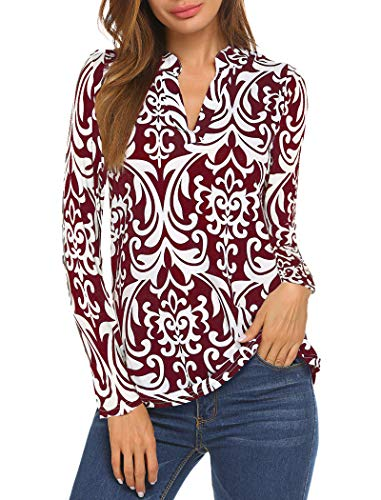 ,Halife Floral Print V Neck Pleated Casual Tops Office Wear Wine Red L ()