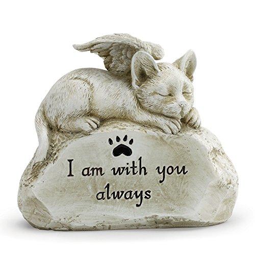 With You Always Sleeping Angel Cat 10 x 6 Inch Resin Pet Bereavement Garden Statue