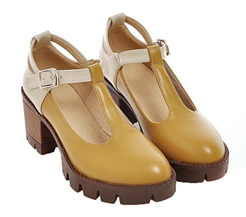 Yellow Shoes Assorted WeiPoot Kitten Heels Round Women's Buckle Pumps Color Toe PU wH0qPvw