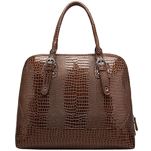 FASH Glossy Crocodile Print Embossed Satchel Style Top Handle Computer Handbag,Copper,One Size - Copper Womens Handbag
