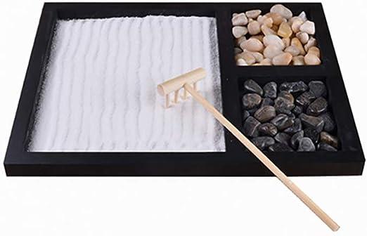 Surenhap Jardin Zen de Mesa de Arena de meditación con rastrillo, Arena y Piedras para oficinas domésticas: Amazon.es: Hogar