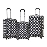 Rockland Luggage Fusion 3 Piece Luggage Set, Black Dot, Medium, Bags Central