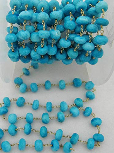 50 Feet Quality Rondelle Faceted Turquoise Rosary Chain, 7mm Magnesite Beaded Chain Sold per Foot- Link Chain Wire Wrapped Beads by LadoNarayani