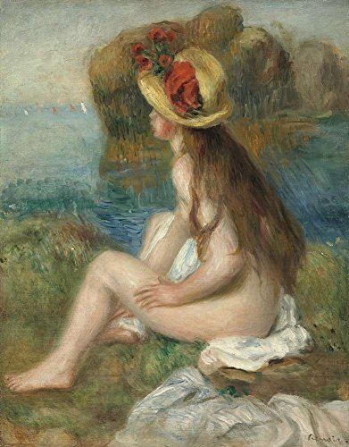 - Canvas Art Print Reproduction Unmounted - 45X60cm (Approx. 18X24inch) Naked with The Hat of Straw Sitting in Edge of Sea by Pierre-Auguste Renoir - Nude Paintings Giclee Picture
