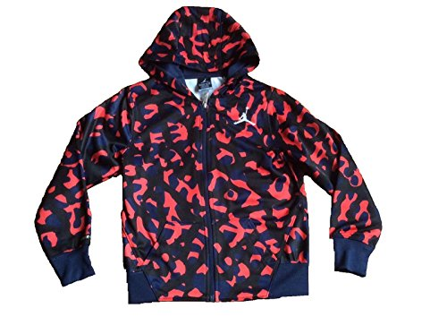 Air Jordan Elephant Print Fleece Hoodie Jacket (Medium/10-12 yrs, Navy/Orange) (Fleece Hoody Print)