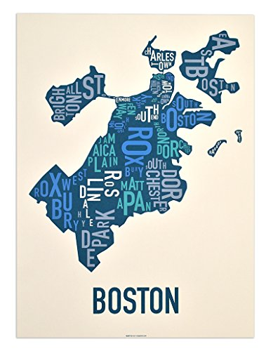 Boston Neighborhoods Type Map Screen Print, Multi-Color