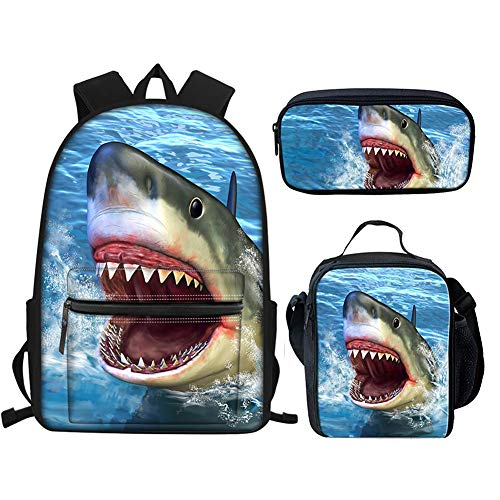 chaqlin School Book Bag Backpack 3 Piece/One Set for Kids Boys and Crossbody Lunch Bag Pen Case