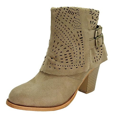 Pierre Dumas Women's Denny-12 Laser Cut Ankle Boot with Stacked Heel Faux Suede (10 B(M) US, Taupe (Cheap Cowgirl Boots Under 20)
