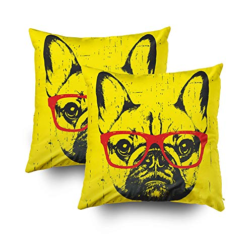 GROOTEY Decorative Cotton Square Set of 2 Pillow Case Covers with Zippered Closing for Home Sofa Decor Size 20X20Inch Costom Pillowcse Throw Cover Cushion,Halloween Portrait French Bulldog Glasses ()
