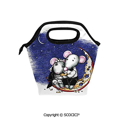 Reusable Insulated Lunch Bags with Pocket Mouse Couple Sitting on the Cheese Flavoured Moon Bride and Groom Valentines Wedding Theme for Adults Kids Boys -
