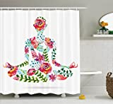 Ambesonne Yoga Decor Collection, Colorful Yoga Pose and Floral Human Leaf Meditating Spring Wellness Vibrant Colors Image , Polyester Fabric Bathroom Shower Curtain, 75 Inches Long, Pink Blue Green