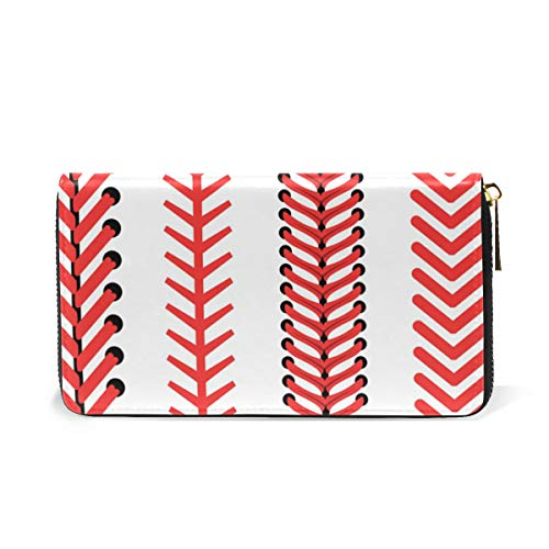 LALATOP Baseball Lace Genuine Leather Zipper Wallets Clutch Coin Phone for women