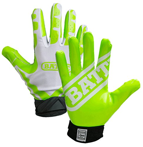 Battle Sports Ultra-Stick Receivers Gloves - Neon Green / White - Adult - MD by Battle Sports