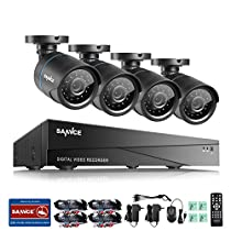 SANNCE Smart Security Camera System 8-Channel HD 1080N DVR and (4) 720P Indoor/Outdoor Weatherproof Cameras with IR Night Vision LEDs- NO HDD