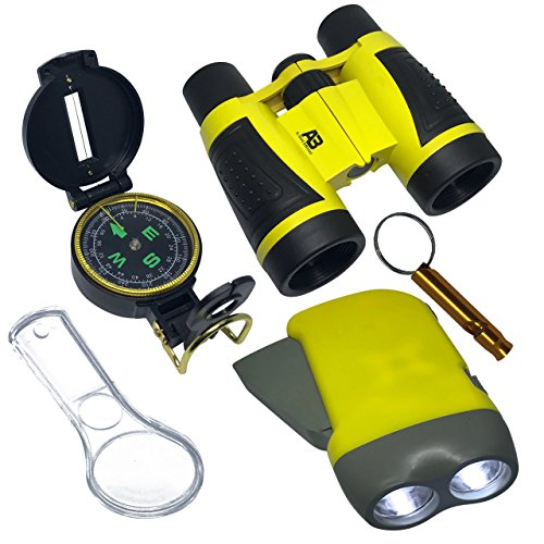Outdoor Set for Kids - 6-in-1 - Binoculars, Flashlight, Compass & Magnifying Glass. Toys Kit for Playing Outside - Camping - Bird Watching - Pretend Play - Educational Gift for boys and girls (Yellow)
