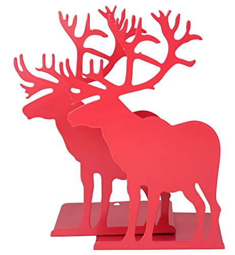 Fasmov Elk Nonskid Bookends Art Bookend,1 Pair (Red)
