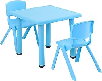 WFENG Mesas y sillas para niños Silla de plástico Pequeña mesa ...