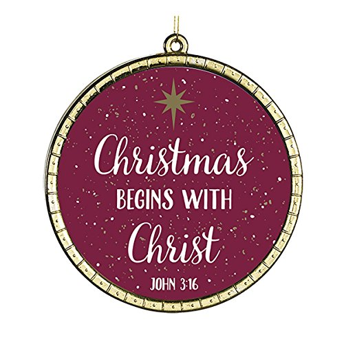 Christmas Begins with Christ Round Glass Ornament with Bible Verse, 2 3/4 Inch, Pack of 18