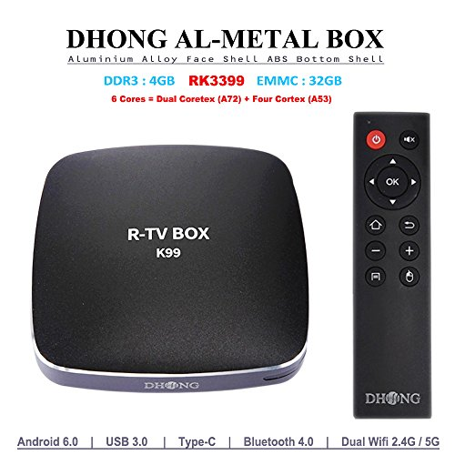 DHong K99 TV Box Made of Premium Aluminium Alloy, R-TV BOX RK3399 4GB RAM 32GB ROM 6 Cores 64-Bit Android 6.0 USB 3.0 Bluetooth 4.0 Dual Wifi Type-C Display Port 4K FHD UHD Smart Media Player by DHong