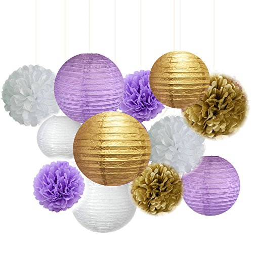 Fascola 12 pcs White Purple Gold Tissue Paper Pom Pom Paper Lanterns Circle Paper Garland Mixed Package for Purple Themed Party Wedding Paper Garland, Bridal Shower Decor Purple Baby Shower Decoration]()