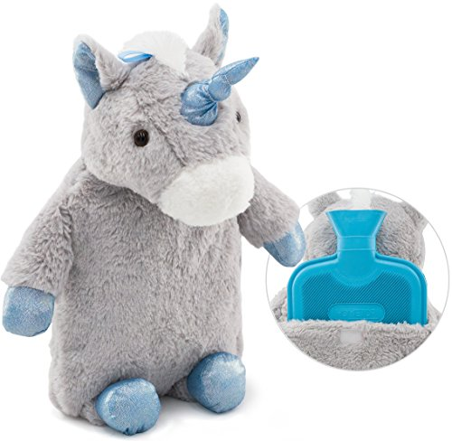 Premium Classic Rubber Hot Water Bottle with Cute Stuffed Plush Unicorn Cover (2L, Gray)