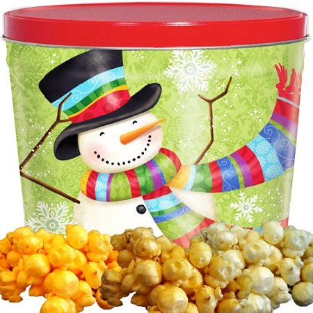 Scarf Snowman Popcorn Gift Tin Small by Just Poppin