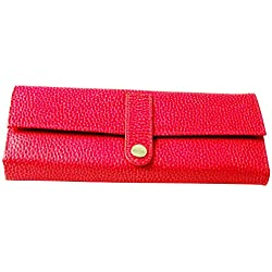 Budd Leather Pebble Grained Leather Jewel Roll, Pink