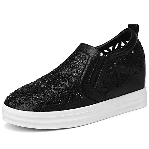 U-MAC Women Sneakers Round Toe Increased Inside Shoes Elastic Band Flat Casual Shoes