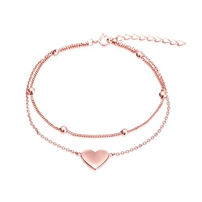0bfe32d064ca2 Image Unavailable. Image not available for. Color  M D Jewelry Heart Charm Bracelet  Rose Gold Bracelet Women ...