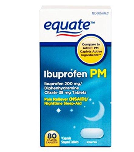 Equate Ibuprofen PM Caplets, 200 mg, 80 Ct