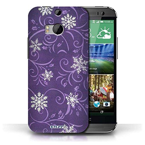 pour HTC One/1 M8 / Pourpre conception / Collection de Motif flocon de neige