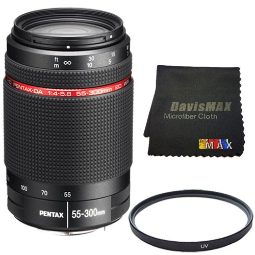Cheap Pentax HD Pentax-DA 55-300mm f/4-5.8 ED WR Lens + 58mm UV Filter + DavisMAX MicroFiber Cloth DavisMAX Bundle