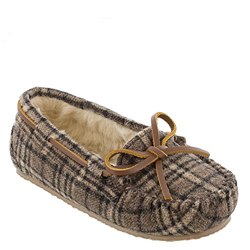 Minnetonka Girls Plaid Cassie Moccasin Slipper Brown Size 12 M US Little Kid