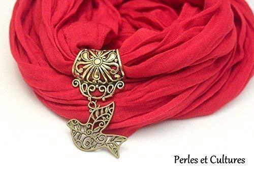 Écharpe foulard bijou rouge oiseau bird original