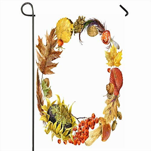 Ahawoso Garden Flag 12x18 Inches Hay Yellow Autumn Watercolor Floral Circle Flora Acorn Nature Berries Botanical Botany Bud Design Outdoor Decorative Seasonal Double Sided Home House Yard Sign