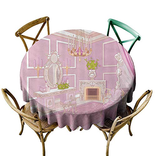 Jbgzzm Fabric Dust-Proof Table Cover Teen Girls Decor Collection Princess Dressing Room in Palace Luxurious Design with Chandelier Fireplace Design Print Table Decoration D47 Pink